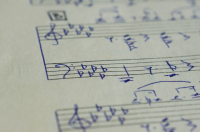 The page with hand-written notes for a piano close up